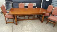 Quality Solid Oak Refectory Dining Table & 6 Chairs (2 of 9)