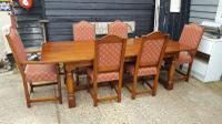 Quality Solid Oak Refectory Dining Table & 6 Chairs (5 of 9)
