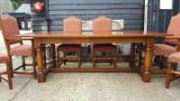 Quality Solid Oak Refectory Dining Table & 6 Chairs (7 of 9)
