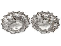 Pair of Mappin & Webb Edwardian Pierced Silver Dishes with a Floral and Scroll Border