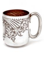 Edwardian Silver Child or Christening Mug Hand Chased with Flowers and Scrolls