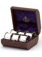 Boxed Set of Six Silver Napkin Rings with Plain Bodies & Chippendale Style Borders