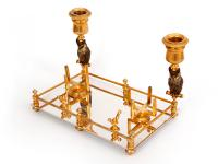 Antique Austrian Ink Stand with Two Cold Painted Bronze Owl Candle Holders c.1900 (9 of 10)