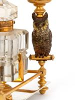 Antique Austrian Ink Stand with Two Cold Painted Bronze Owl Candle Holders c.1900 (10 of 10)
