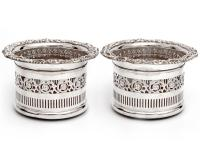 Tall Edwardian Silver Plated Coasters with Floral and Scroll Applied Mounts