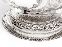 Late Victorian Oval Silver Fruit Bowl Embossed with Scrolls and Flowers (5 of 7)