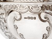 Late Victorian Oval Silver Fruit Bowl Embossed with Scrolls and Flowers (6 of 7)