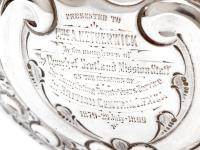 Late Victorian Oval Silver Fruit Bowl Embossed with Scrolls and Flowers (7 of 7)