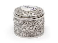 Antique Silver Jar with Baby Inscribed On the Lid with Blue Enamel (4 of 6)