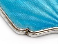 Art Deco Style Blue Guilloche Enamel & Silver Hand Mirrror (4 of 6)