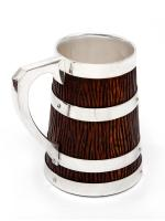 Victorian Oak & Silver Plated Mug with a Tapering Rustic Carved Body (3 of 3)