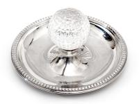 Vintage Golf Ash Tray in Silver Plate with a Central Glass Golf Ball (2 of 3)
