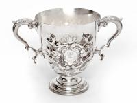 Elkington & Co Silver Plated Trophy Cup Embossed with Scrolls and Foliage with Scroll Handles