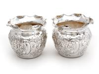 Pair of Victorian Globe Shaped Silver Plated on Copper Flower Pots (2 of 3)