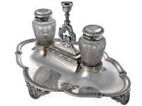 Antique Elkington Silver Ink Stand with Two Glass Inkwells