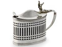 An Oval Silver Mustard Pot with Original Blue Glass Liner c.1919