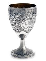George III Silver Goblet with Gilt Interior and Armorial Crest