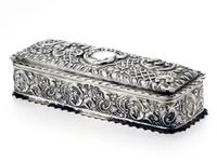Decorative Victorian Die Stamped Silver Jewellery Box