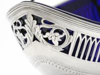 Silver George III Sugar Basket with Blue Glass Liner (5 of 7)