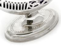 Silver George III Sugar Basket with Blue Glass Liner (4 of 7)