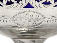 Silver George III Sugar Basket with Blue Glass Liner (7 of 7)