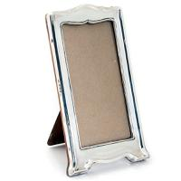Slim Rectangular Plain Silver Photo Frame with a Shaped Top & Base