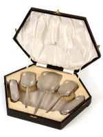 Boxed 6 Piece Art Deco Style Silver Dressing Table Set