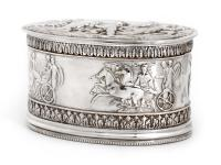 Silver Plate Electrotype Oval Hinged Box with Roman Chariots & Putti Children