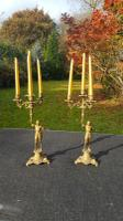 Pair of Vintage French Very Heavy Bronze 1950s Candlesticks