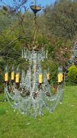 Beautiful Vintage French Bronze 8 Arm Chandelier with Glass Drops