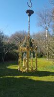 Large Heavy Very Unusual Vintage French Bronze Lantern