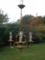 Unusual Vintage French 3 Arm Bronze Cage Chandelier