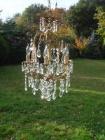 Very Unusual Vintage French 6 Arm Bronze Cage Chandelier