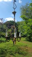 Vintage French 1950s 3 Arm Bronze Cage Chandelier