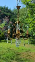 Vintage French 1950s Bronze 4 Arm Cage Chandelier
