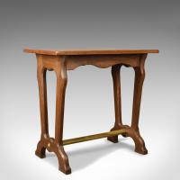 Antique Ship's Table, English, Edwardian, Teak, Brass, Side, Lamp c.1910