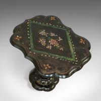 Antique Table, Ebonised, Papier Mache, Mother of Pearl, Side, Lamp, Wine, Tilt (3 of 7)