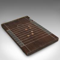 Antique Shove Ha'penny Board, English, Mahogany, Travel, Gaming, Coins c.1900