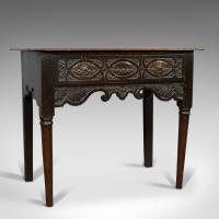 Antique Lowboy, Scottish, Oak, Occasional, Side Table, Georgian c.1760