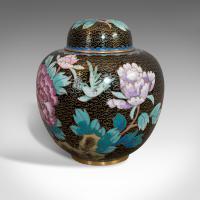 Antique Ginger Jar, Oriental, Cloisonne, Decorative, Spice Urn, Victorian c.1900