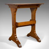 Antique Craft Table, English, Golden Oak, Side, Writing, Victorian c.1880