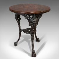 Antique Britannia Table, English, Cast Iron, Beech, Outdoor, Garden c.1900