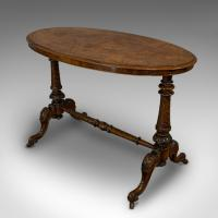 Antique Oval Table, English, Burr Walnut, Centre, Side, Victorian c.1870 (3 of 12)