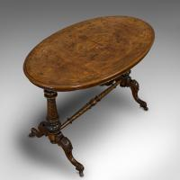 Antique Oval Table, English, Burr Walnut, Centre, Side, Victorian c.1870 (7 of 12)