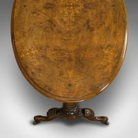 Antique Oval Table, English, Burr Walnut, Centre, Side, Victorian c.1870 (8 of 12)