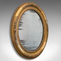 Antique Oval Mirror, English, Gilt Gesso, Mercury Plate, Georgian c.1800