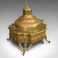 Large Antique Islamic Fire Pit, Arabic, Brass, Ceremonial Brazier, circa 1900