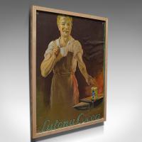 Framed Antique Cocoa Advertisement, English, Lutona Poster, Victorian c.1900