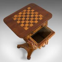 Antique Games Table, English, Mahogany, Chess, Workstation, Victorian c.1860 (8 of 12)