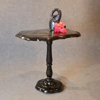 Antique Ebonised Papier Mache Mother of Pearl Side Lamp / Wine / Tilt Table c.1870